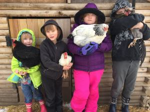 Talbott kids and their feathered friends:  Coco & Lucky, Tori & Tarzan, Zoe & Rocky, Addison & Polish the Roo